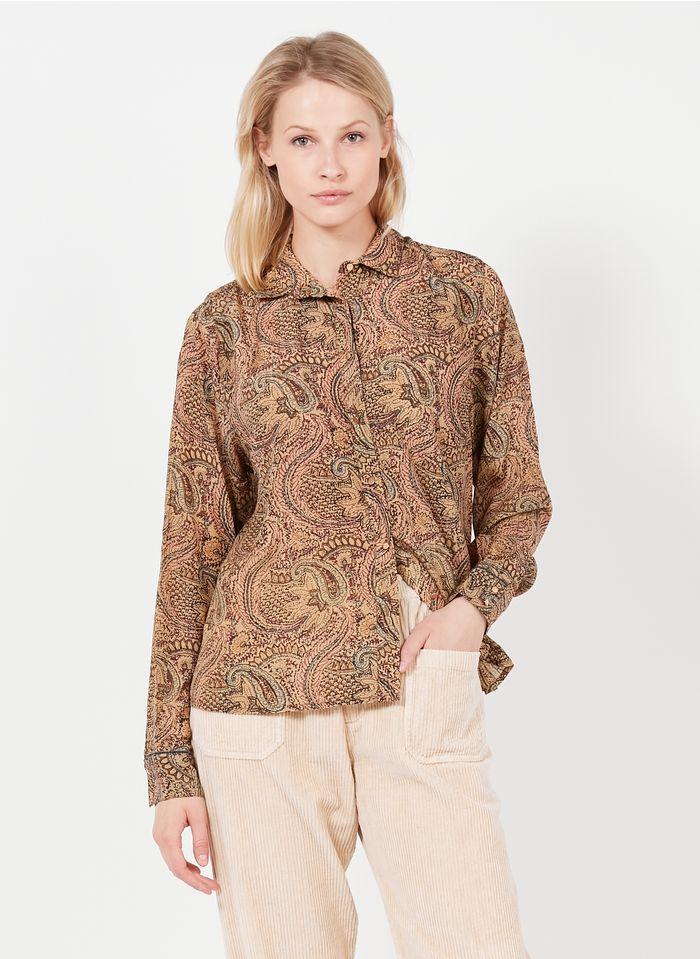 SWILDENS Camisa estampada con cuello clásico en beige