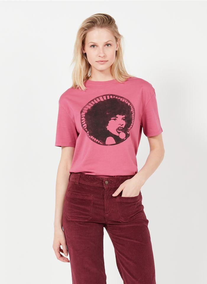 SWILDENS Camiseta de algodón serigrafiada con cuello redondo en rosa