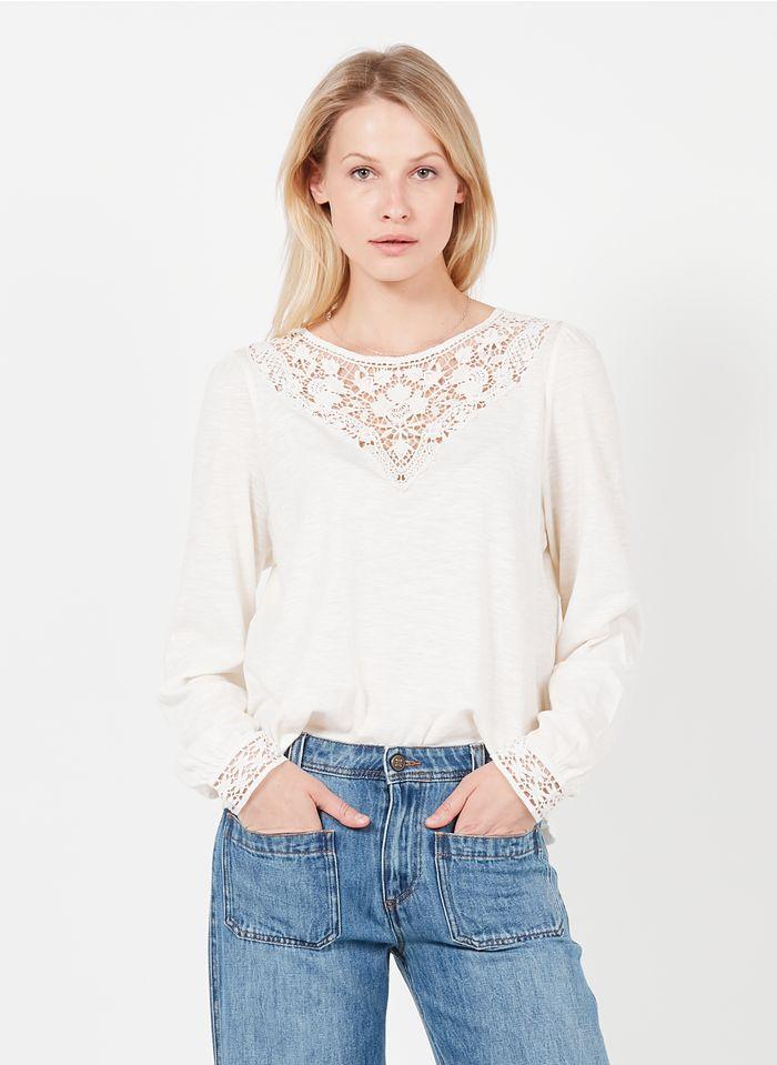 SWILDENS Camiseta de cuello redondo de mezcla de algodón con encaje en blanco