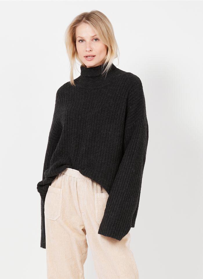 SWILDENS Jersey de cuello vuelto de mezcla de alpaca y lana en negro
