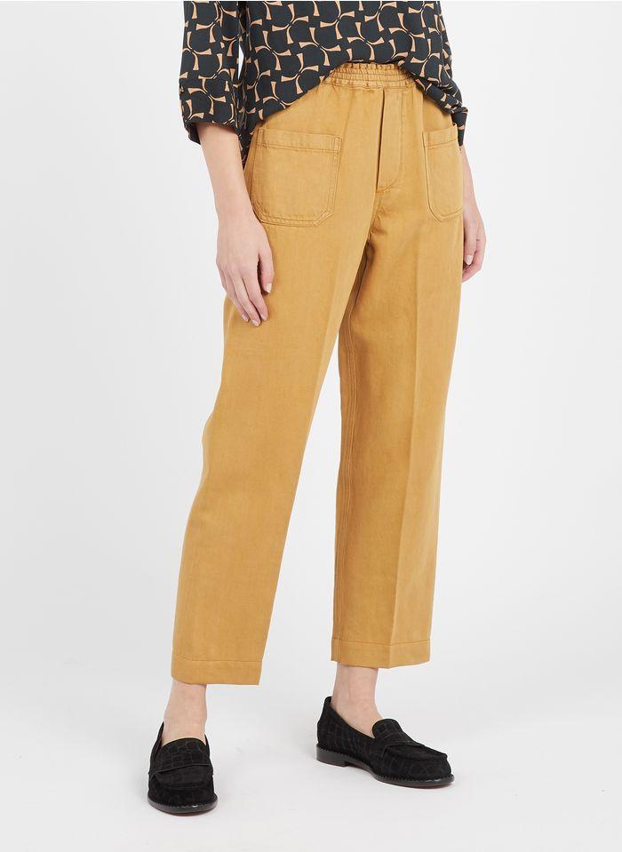 SWILDENS Pantalón ancho de lona de algodón en beige