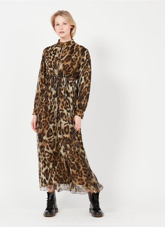 SWILDENS Vestido largo de chifón con cuello redondo abotonado y estampado floral en marrón