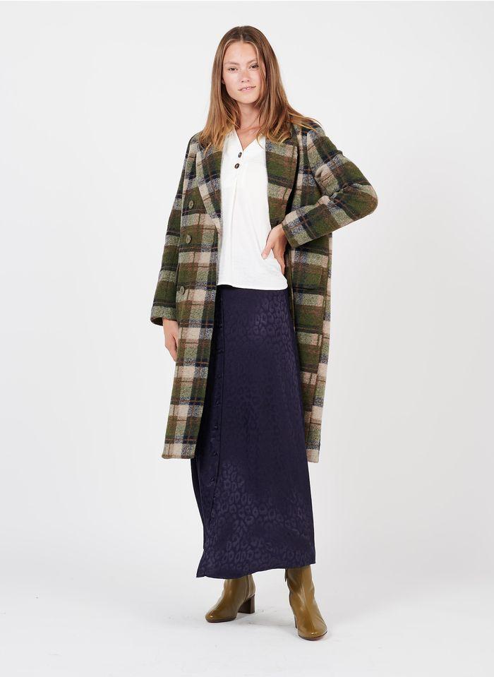 THE KORNER Abrigo de mezcla de lana a cuadros con cuello sastre en kaki