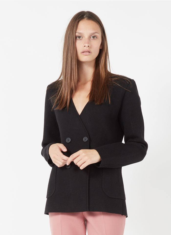 TWINSET Chaqueta ajustada con cuello sastre en negro