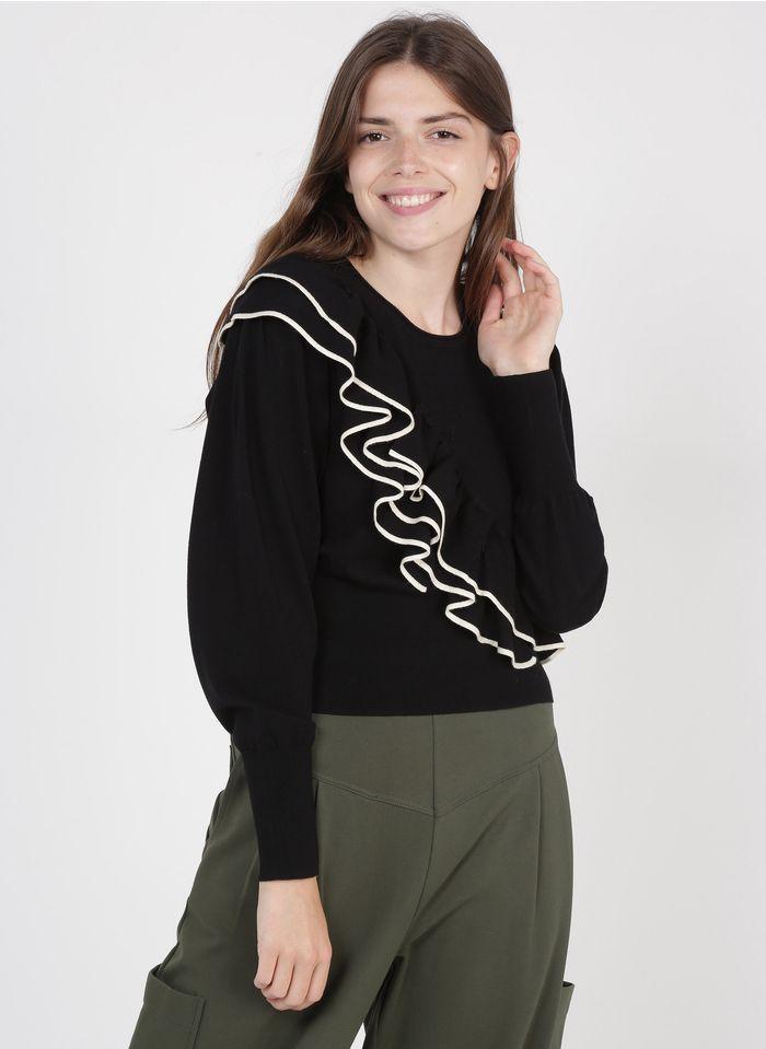 TWINSET Jersey de cuello redondo con volantes en negro