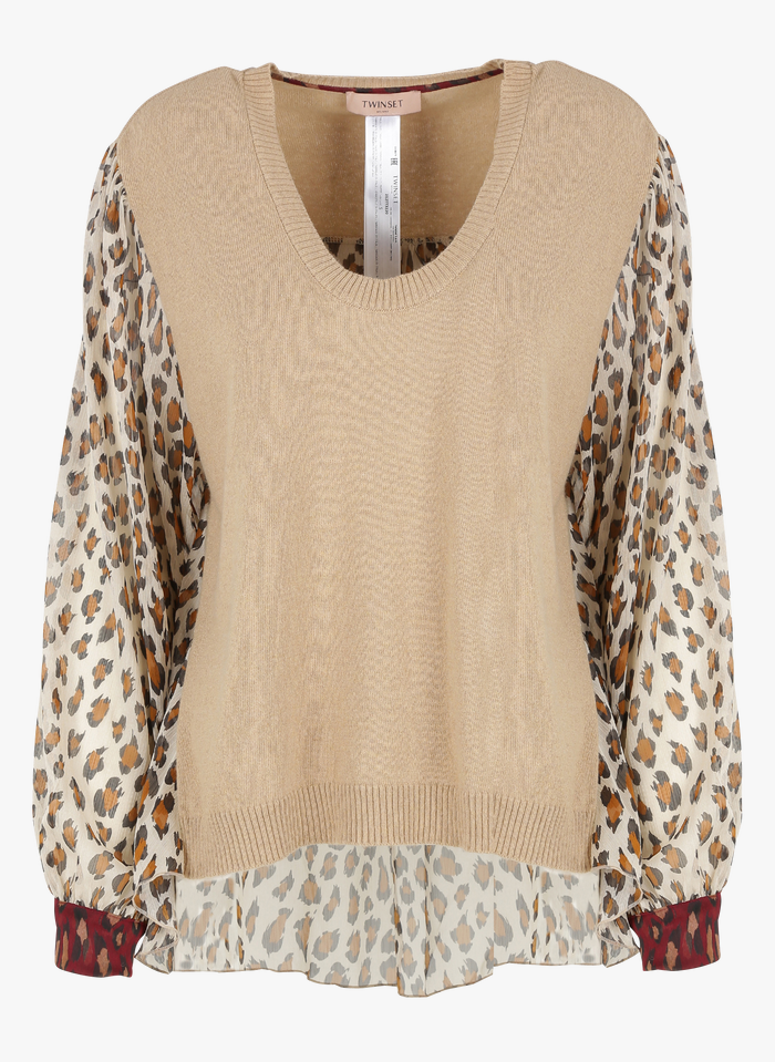 TWINSET Jersey de dos materiales con cuello redondo en beige