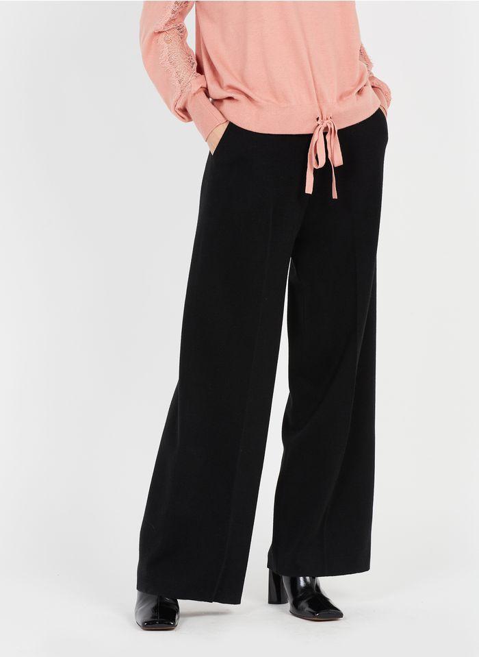 TWINSET Pantalón ancho de mezcla de lana en negro