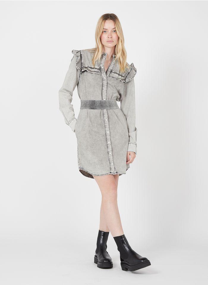 TWINSET Vestido camisero vaquero de algodón con cuello redondo y volante en gris