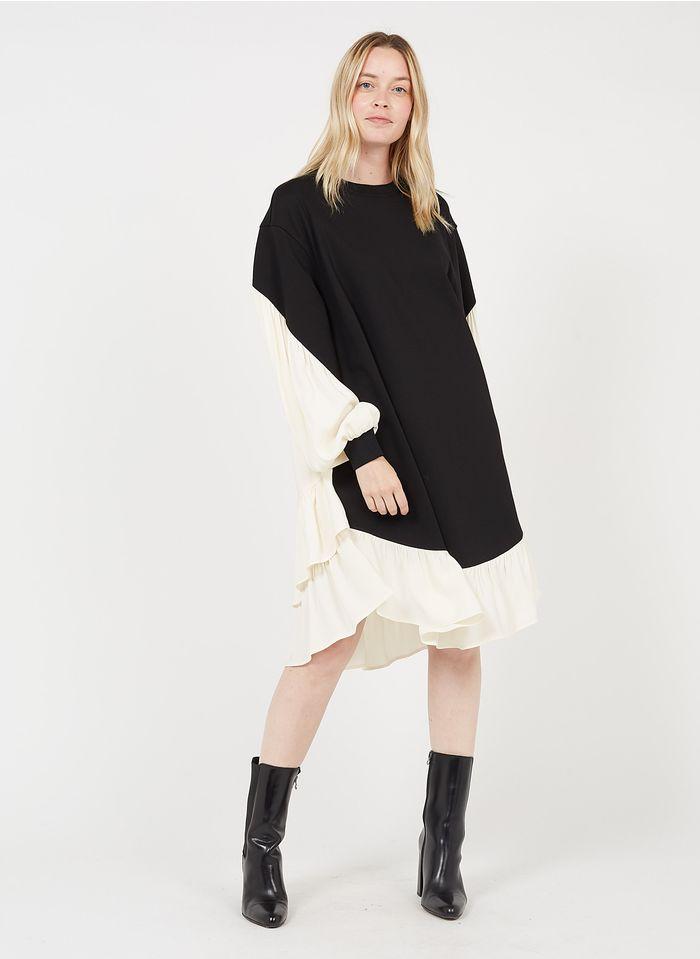 TWINSET Vestido midi con cuello redondo en dos materiales en negro