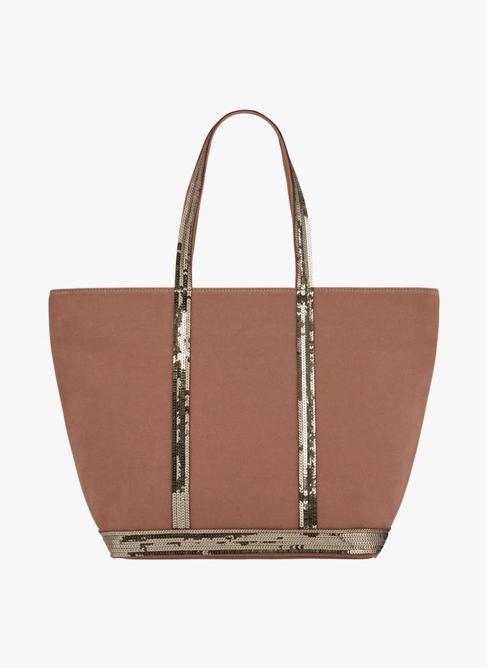 VANESSA BRUNO Bolso shopper mediano de tela y lentejuelas en marrón