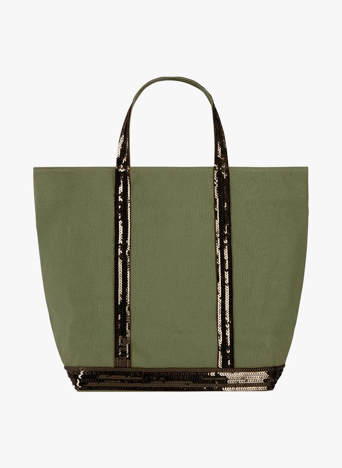 VANESSA BRUNO Bolso shopper mediano de tela y lentejuelas en verde
