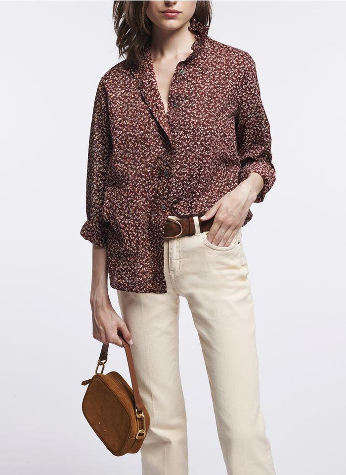 VANESSA BRUNO Camisa con cuello victoriano y estampado de flores en morado