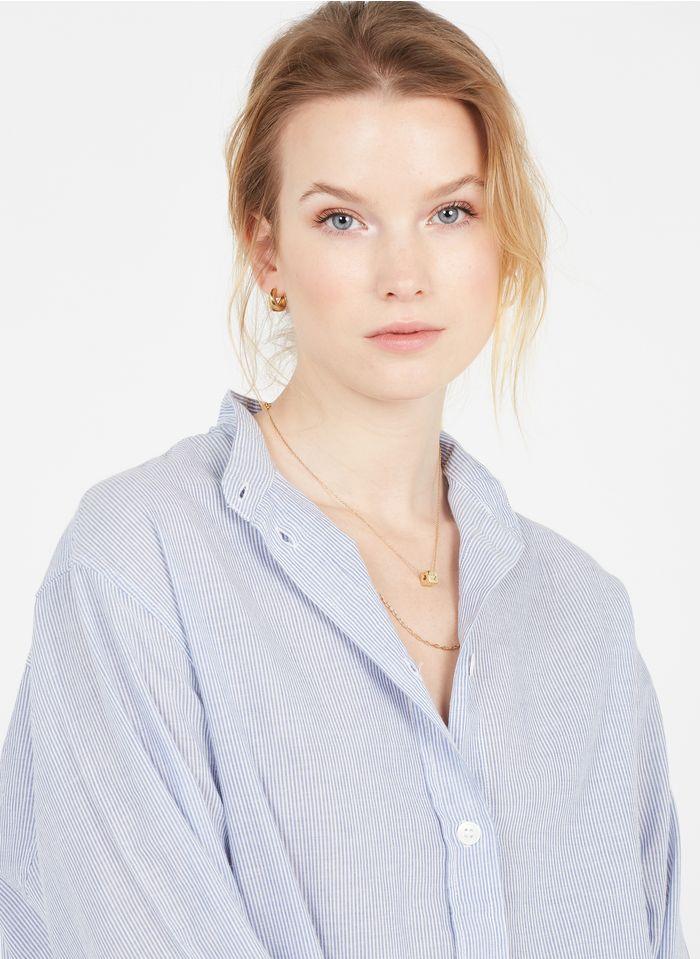 VANESSA BRUNO Camisa de algodón a rayas con cuello alto en azul