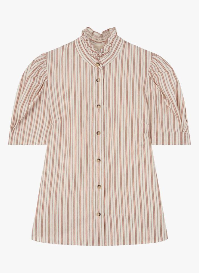 VANESSA BRUNO Camisa de algodón a rayas con cuello victoriano en blanco