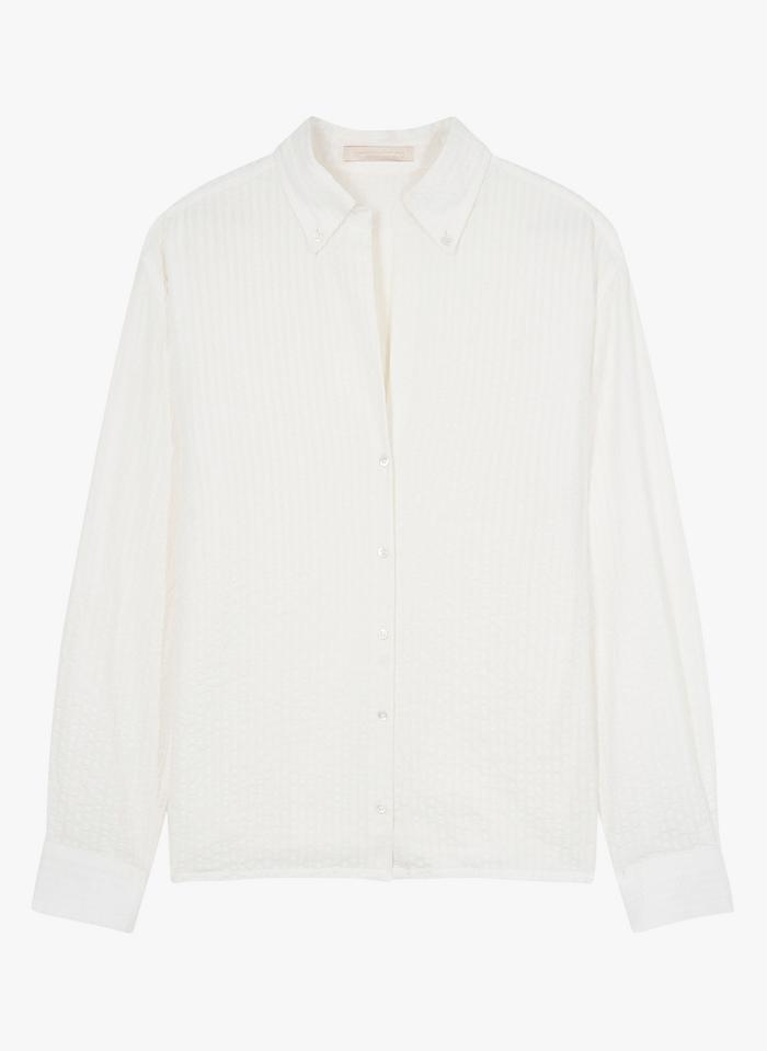 VANESSA BRUNO Camisa de algodón con cuello clásico en blanco