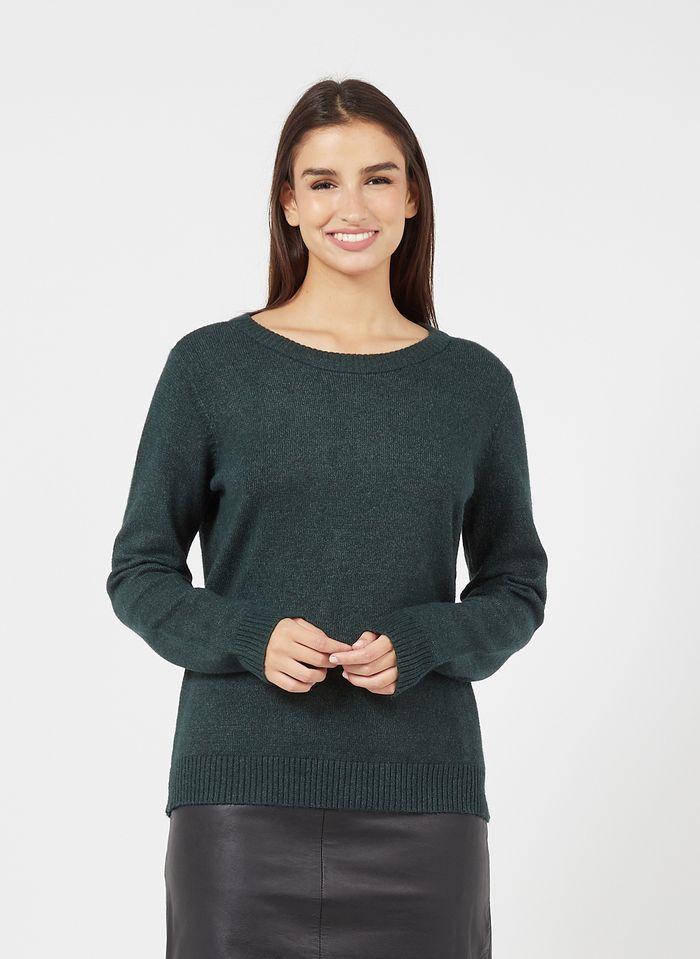 VILA Jersey con cuello redondo en verde