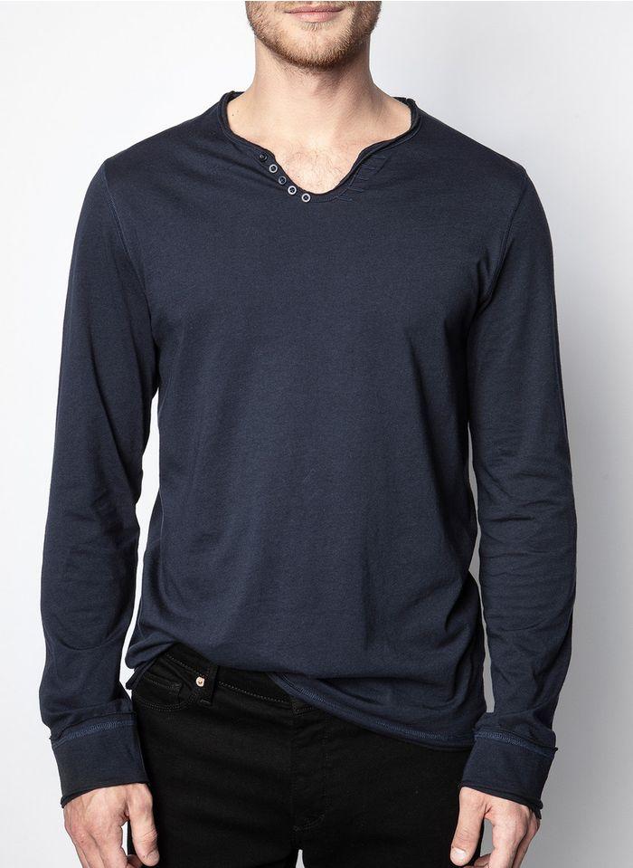 ZADIG&VOLTAIRE Camiseta de algodón regular fit con cuello tunecino en azul