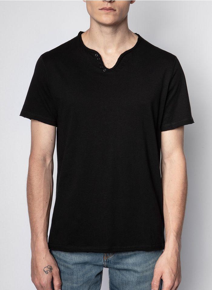 ZADIG&VOLTAIRE Camiseta de algodón regular fit con cuello tunecino en negro