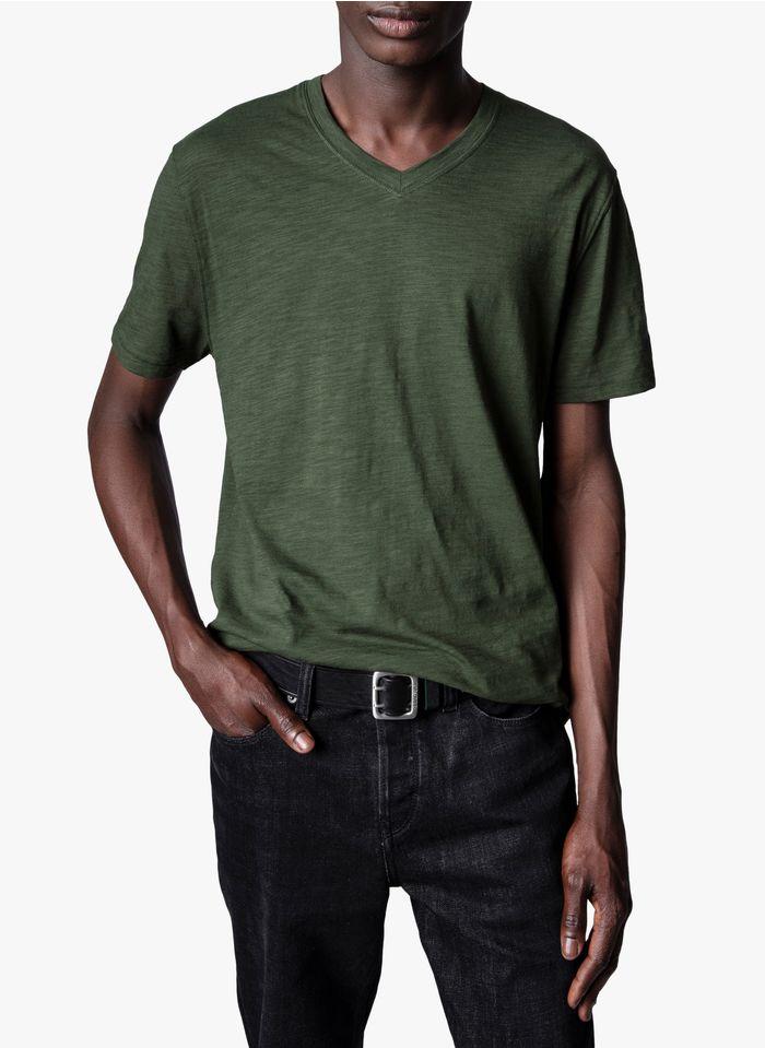 ZADIG&VOLTAIRE Camiseta regular fit de algodón con cuello de pico en kaki
