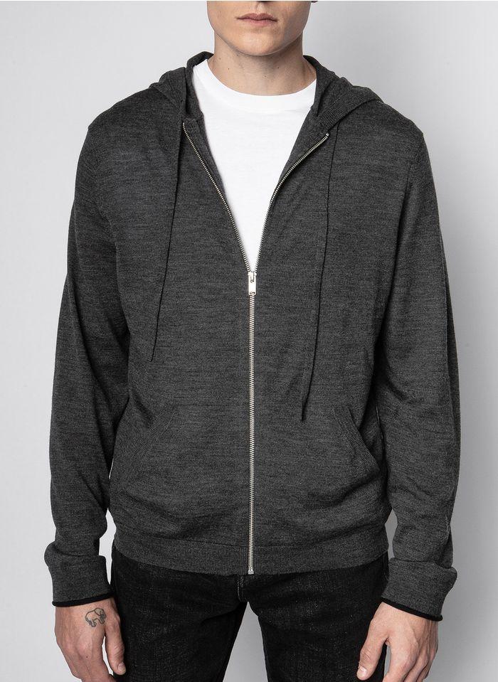 ZADIG&VOLTAIRE Jersey regular fit de lana merina con capucha y cremallera en gris