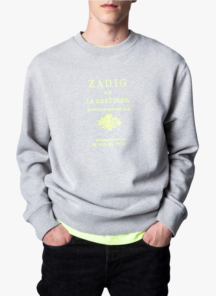 ZADIG&VOLTAIRE Sudadera serigrafiada regular fit de algodón con cuello redondo en gris
