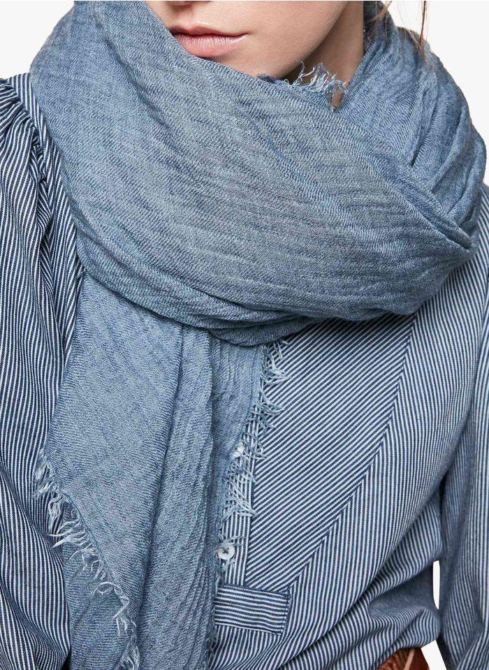 ACOTE Foulard en lyocell et laine Bleu