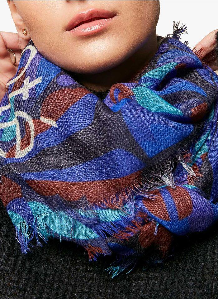 ACOTE Foulard imprimée en laine Bleu