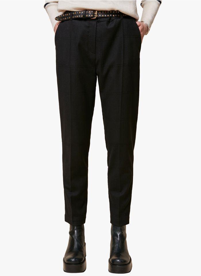 ACOTE Pantalon droit en laine mélangée Noir