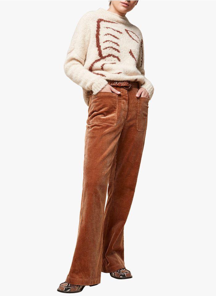 ACOTE Pantalon large en velours côtelé Marron