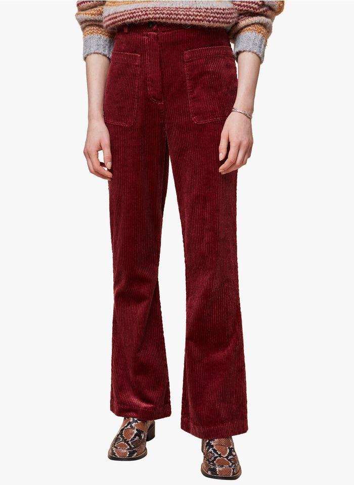 ACOTE Pantalon large en velours côtelé Rouge