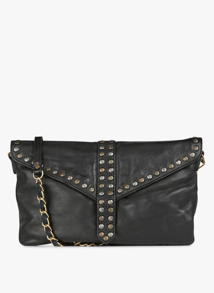 ACOTE Petit sac bandoulière à studs en cuir Noir