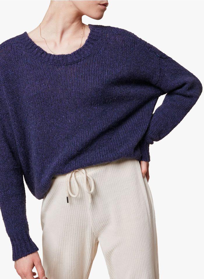 ACOTE Pull ample col rond en laine mélangée Bleu