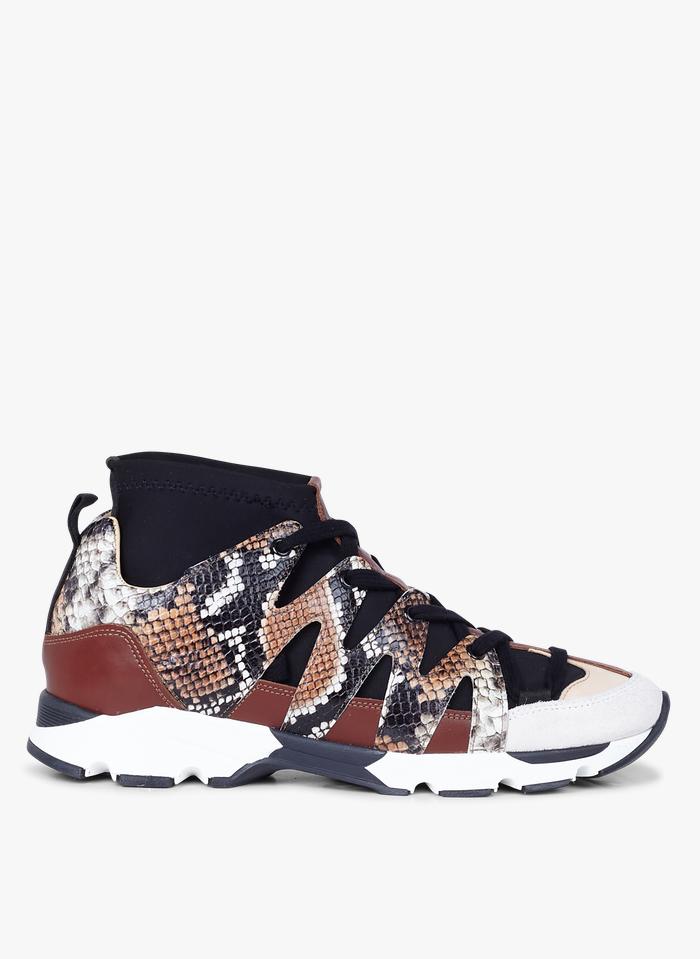 ACOTE Sneakers cuir motif serpent Jaune
