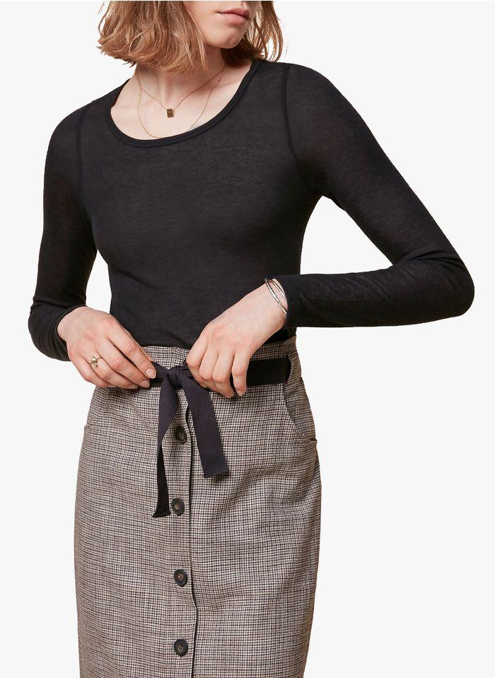ACOTE Tee-shirt col rond en lyocell mélangé Noir