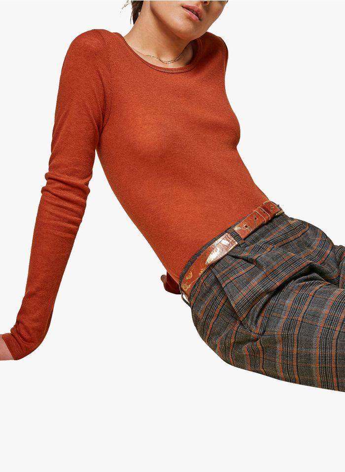 ACOTE Tee-shirt col rond en lyocell mélangé Orange