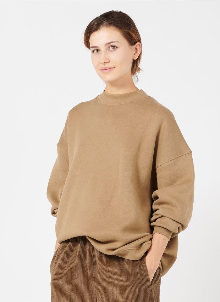 AMERICAN VINTAGE Sweat-shirt col rond en coton mélangé Marron