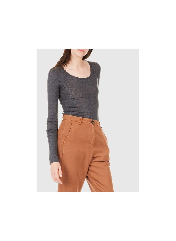AMERICAN VINTAGE Tee-shirt col rond manches longues en coton Gris