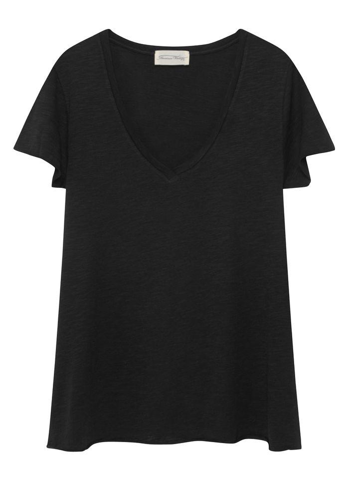 AMERICAN VINTAGE Tee-shirt col V en coton mélangé Noir