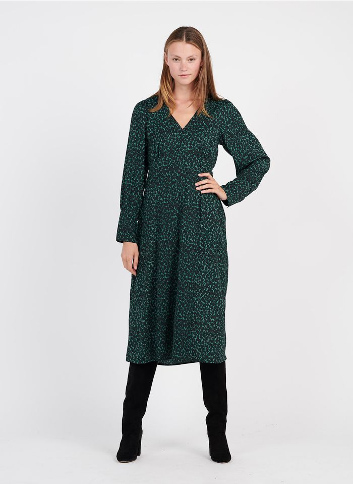 AN'GE Robe midi évasée col V imprimée Vert