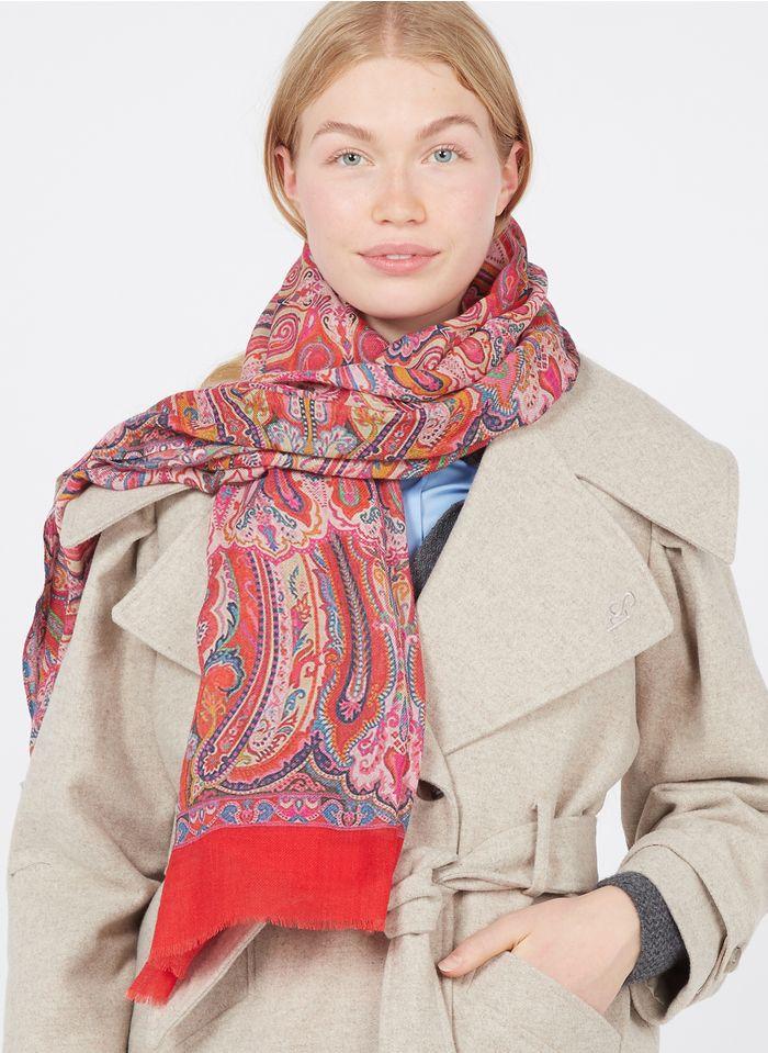 ANTOINE & LILI Foulard imprimé en laine et soie Rouge