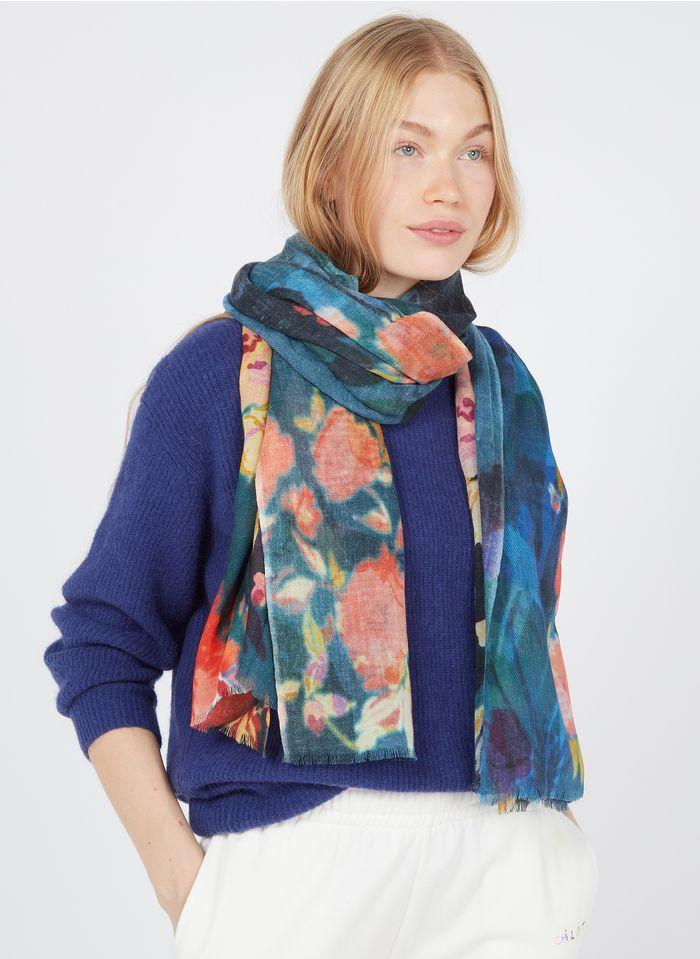 ANTOINE & LILI Foulard imprimé floral en laine et soie  Bleu