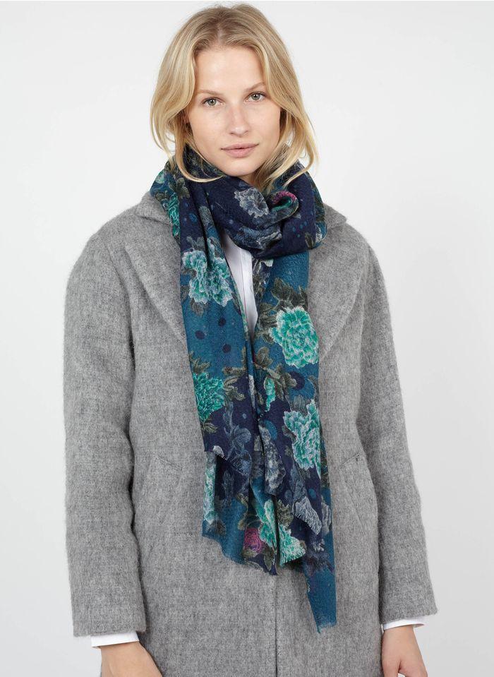 ANTOINE & LILI Foulard motif floral en mélange laine et soie  Bleu