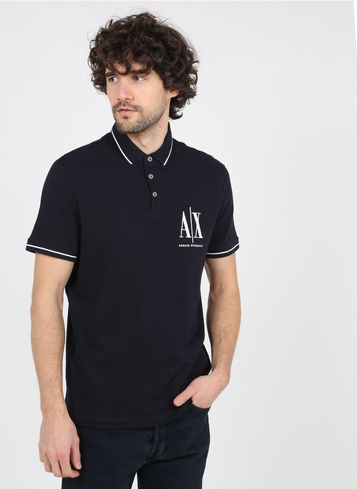 ARMANI EXCHANGE Polo regular-fit brodé en coton Bleu