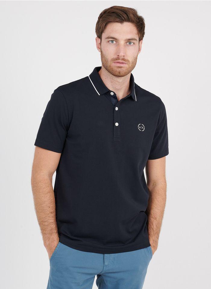 ARMANI EXCHANGE Polo regular-fit sérigraphié en coton Bleu