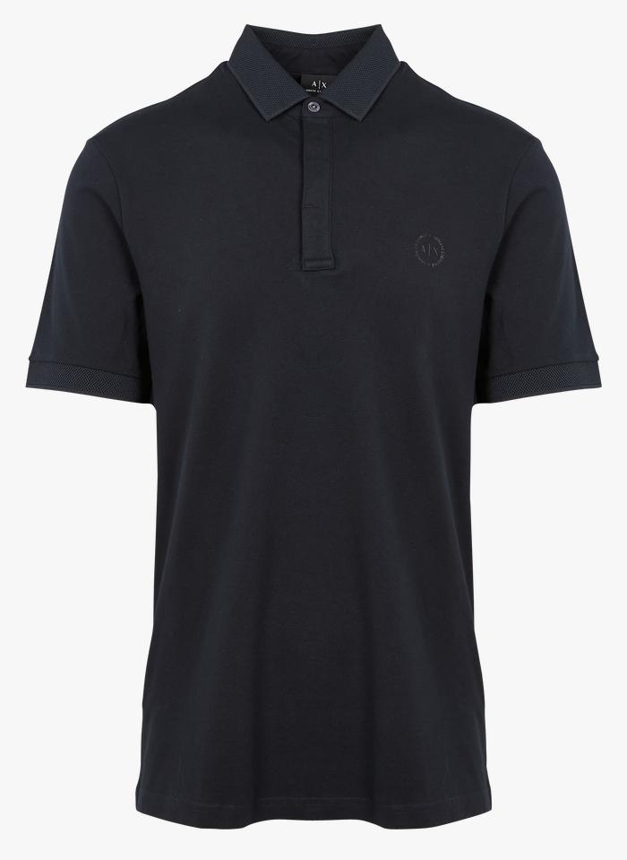 ARMANI EXCHANGE Polo regular-fit sérigraphié en coton piqué Bleu