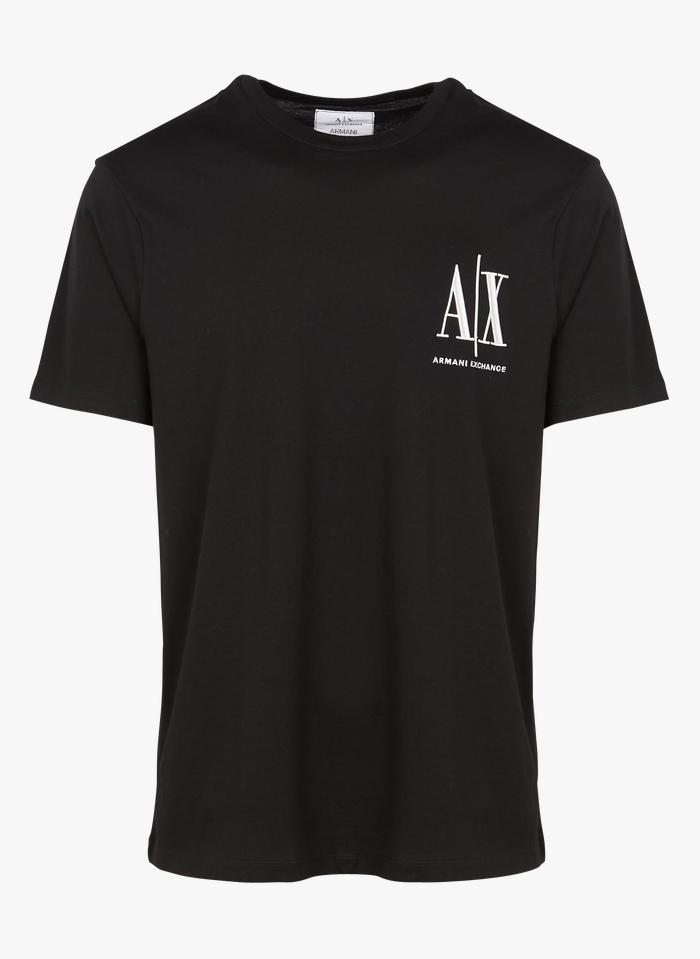 ARMANI EXCHANGE Tee-shirt col rond regular fit brodé en coton Noir