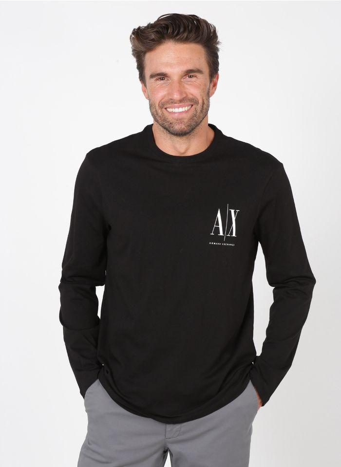 ARMANI EXCHANGE Tee-shirt col rond regular-fit en coton Noir