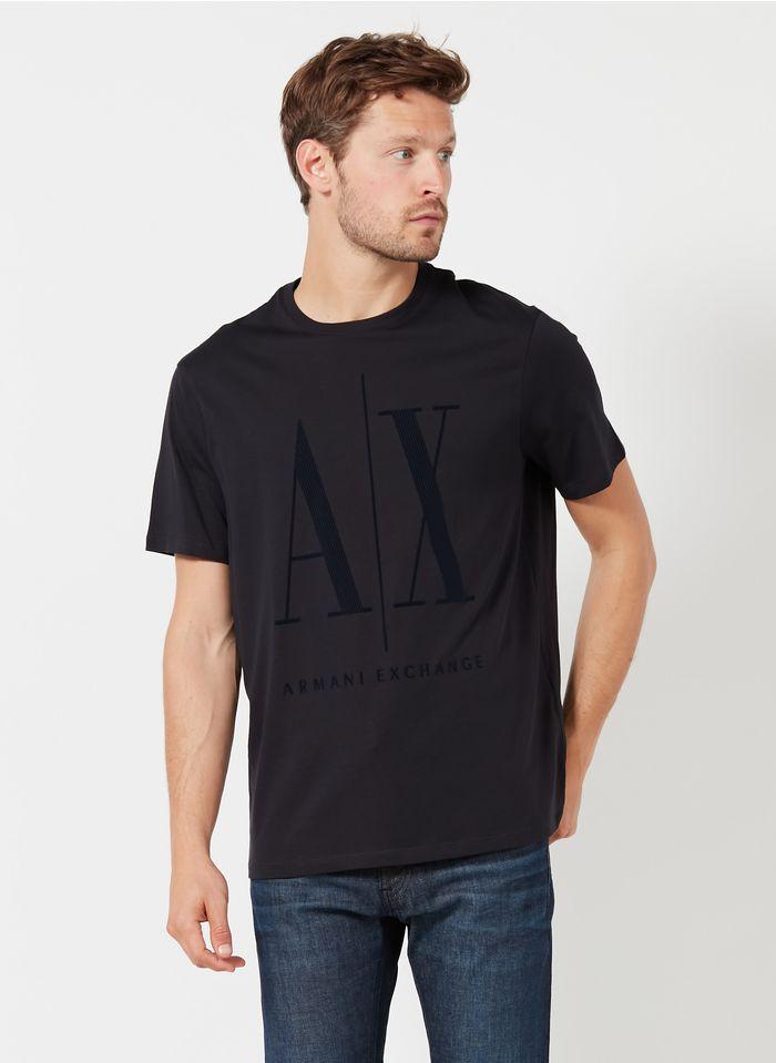 ARMANI EXCHANGE Tee-shirt col rond regular-fit sérigraphié en coton Bleu
