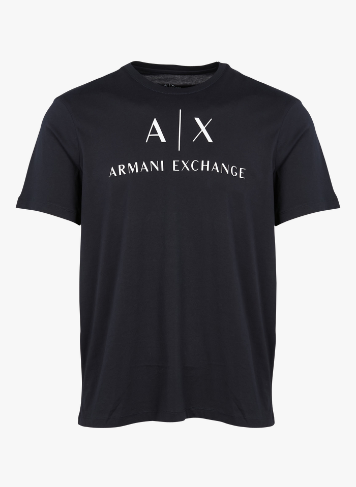 ARMANI EXCHANGE Tee-shirt col rond slim-fit en coton Bleu