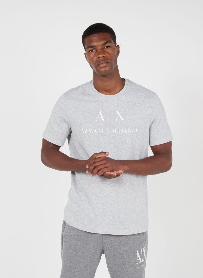 ARMANI EXCHANGE Tee-shirt col rond slim-fit en coton Gris